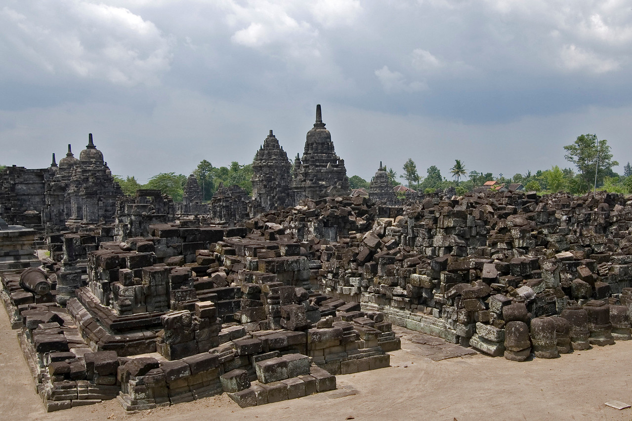 Landscape view of the ruins at Sewu Temple in Prambanan