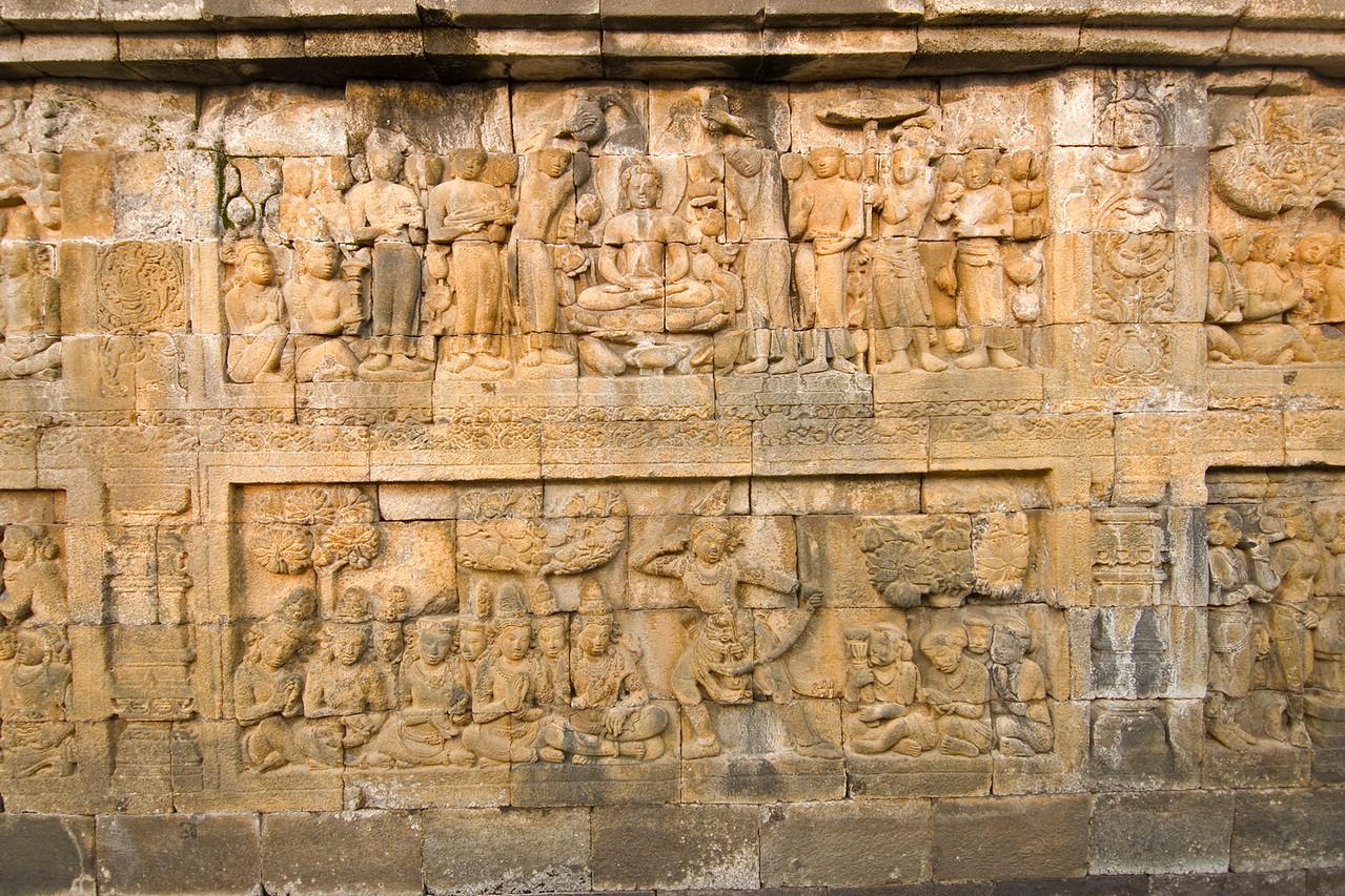 Beautiful relief details at Borobudur temple in Java, Indonesia