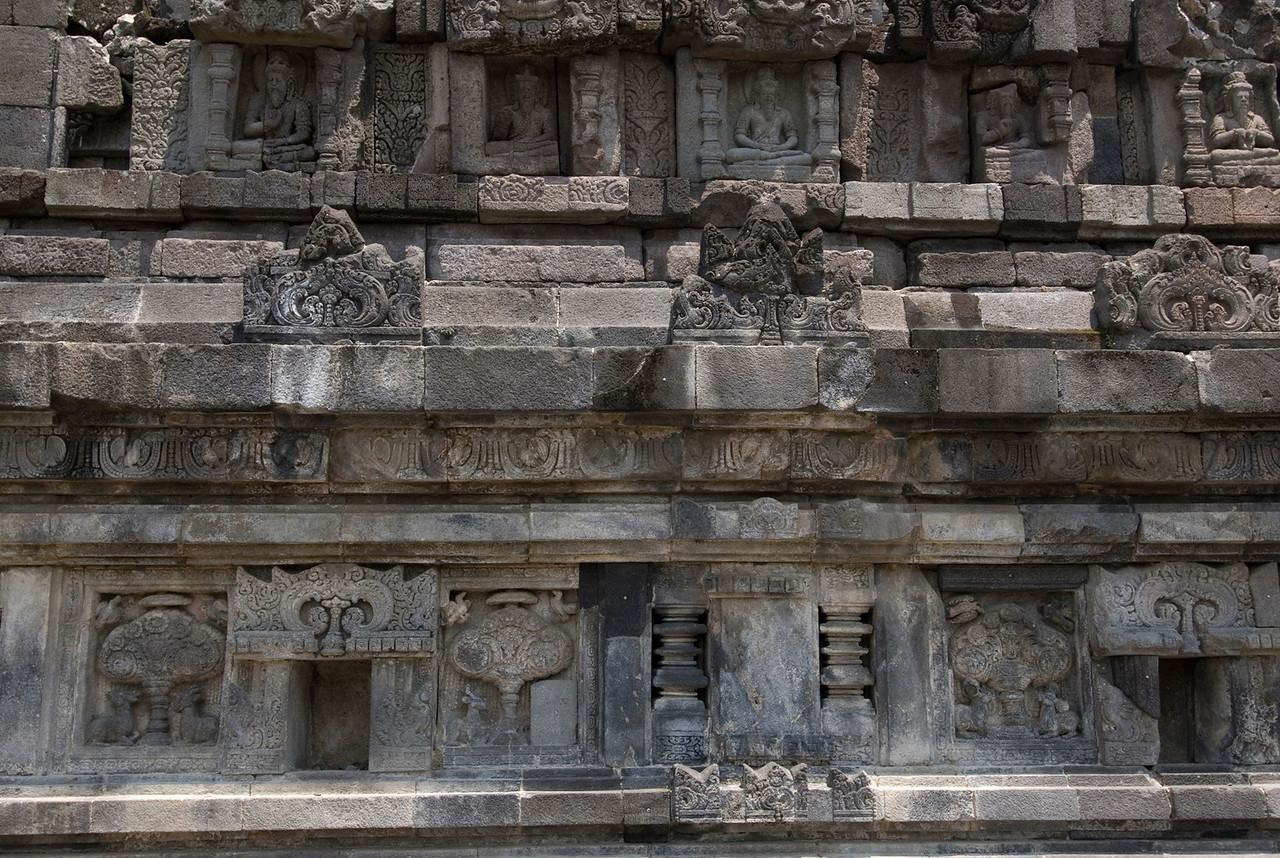 Wall carvings at Prambanan in Java, Indonesia