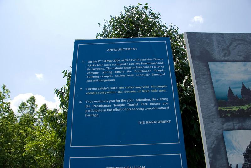 Earthquake sign outside the Prambanan complex in Yogyakarta, Indonesia