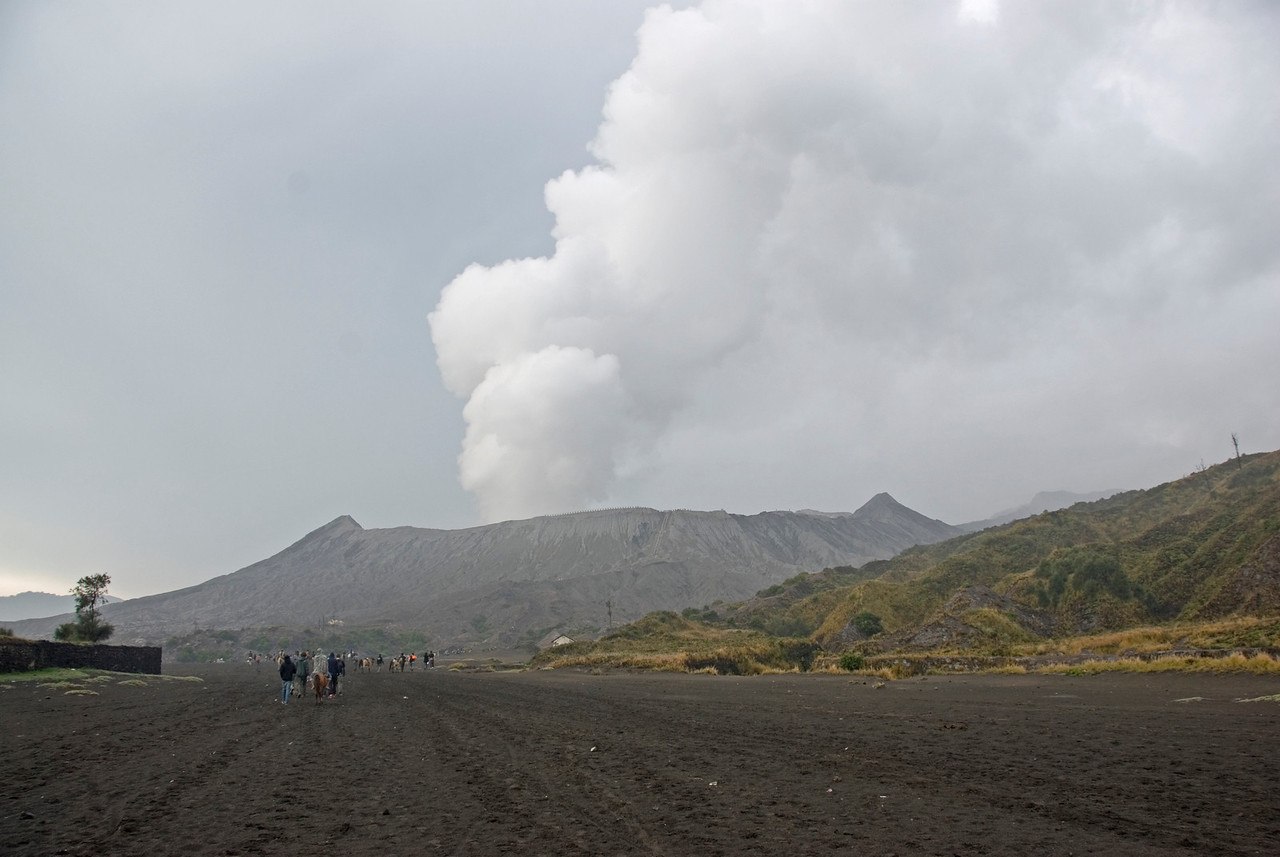 Wide pathwalk leading to Mount Bromo in Java, Indonesia