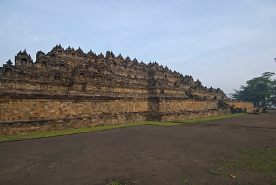 View of the Borobudur ruins from the side at Java, Indonesia