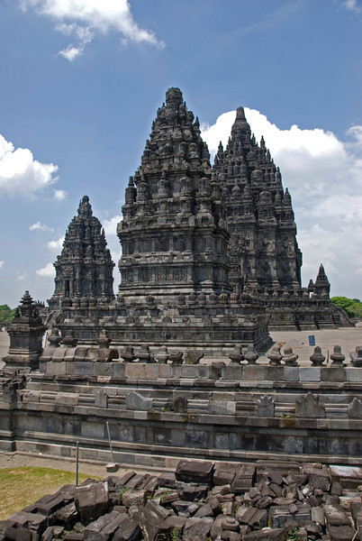 Beautiful towers looking down on the ruins at Prambanan Temple complex in Indonesia