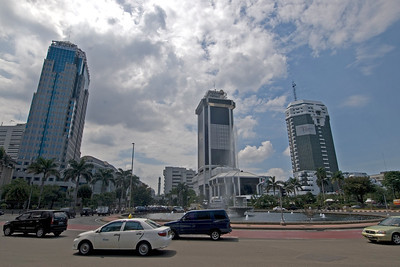 Shot of street scene and skyscrapers in Jakarta