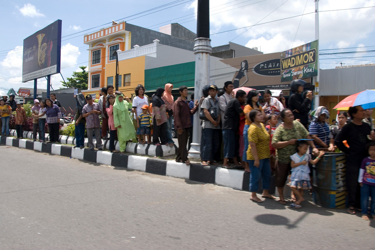 Locals awaiting for the Suharto Funeral convoy in Indonesia