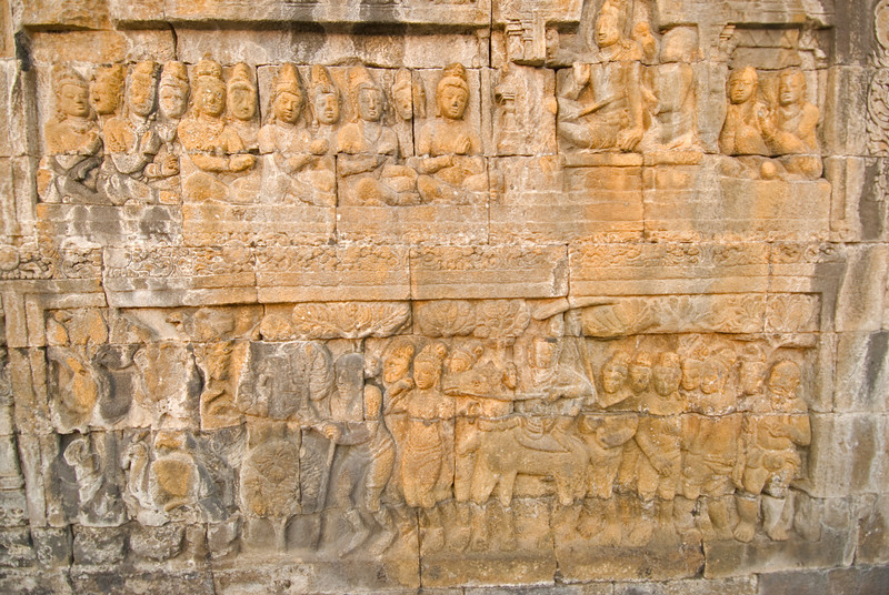 Relief at the walls of Borobudur temple in Java, Indonesia