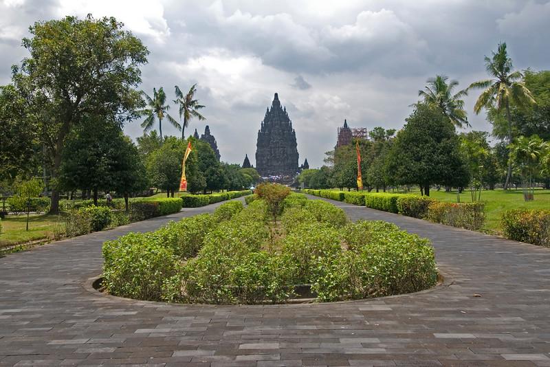 Beautiful tree lined pathwalk to Prambanan in Java, Indonesia