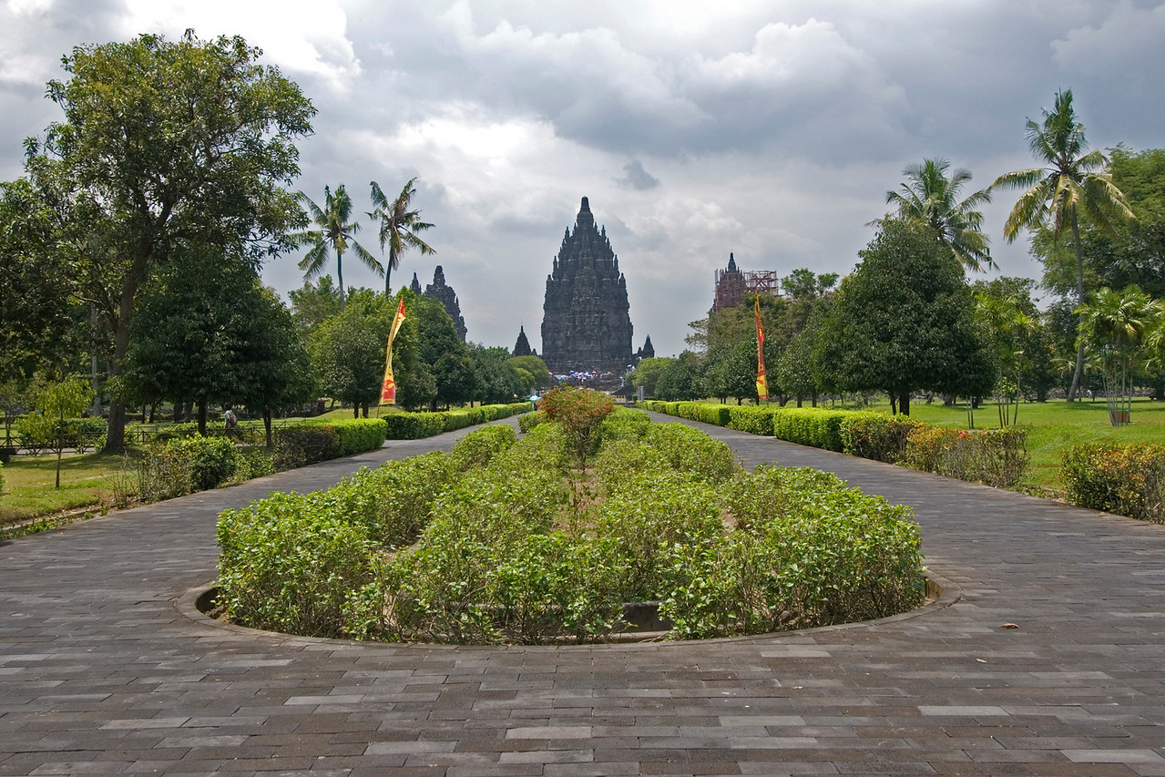 Beautiful tree lined pathwalk to Prambanan in Java, Indonesia
