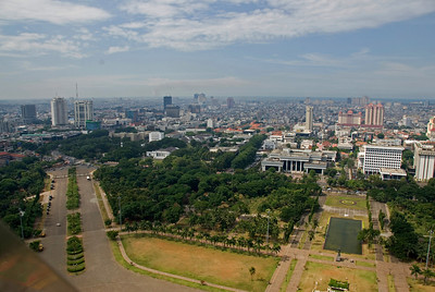 Overlooking view of the city skyline in Jakarta, Indonesia
