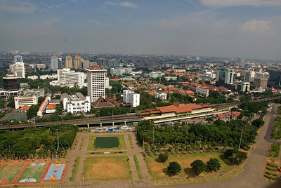 Overhead view of the skyline in Jakarta, Indonesia
