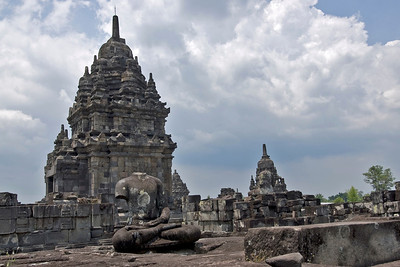 A shot of Sewu temple tower against clear day sky in Java, Indonesia