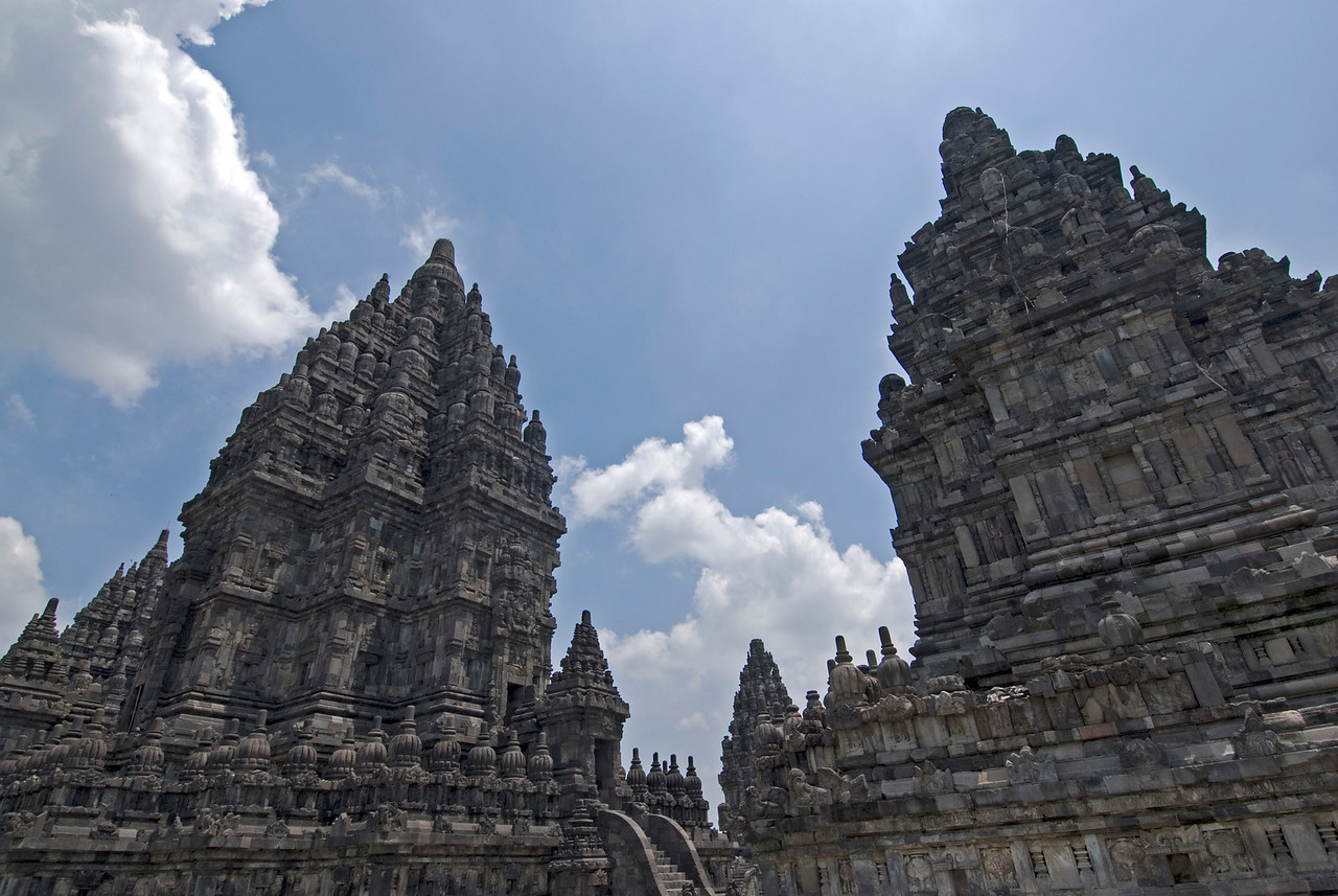 Looking up the giant towers at Prambanan in Jakarta, Indonesia