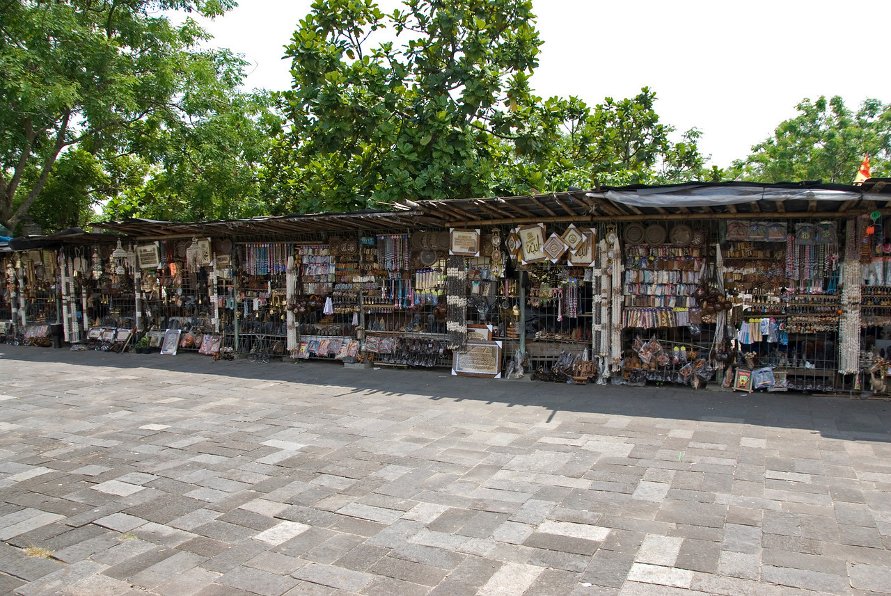 A line of vendors selling souvenir items outside Prambanan in Indonesia