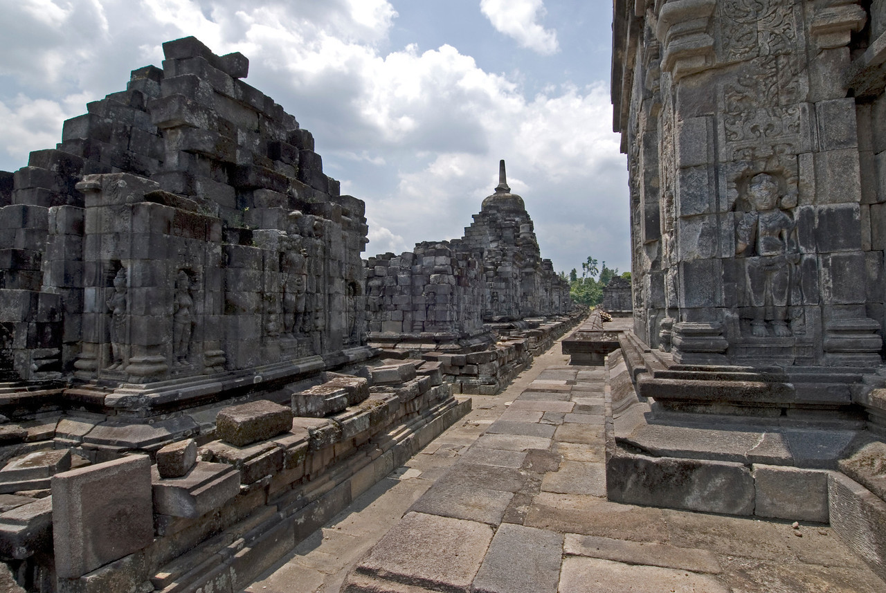 Exploring the inside of the Sewu temple in Prambanan, Indonesia