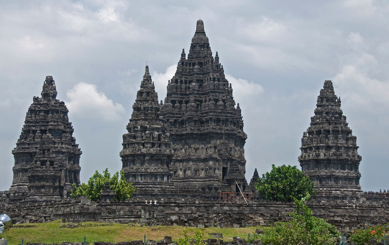 Beautiful towers at Prambanan with clear sky as backdrop
