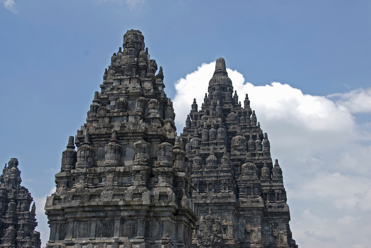 Closer look at the towers of Prambanan in Java, Indonesia