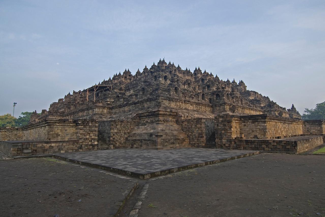 Corner view of the massive Borobudur temple in Java, Indonesia