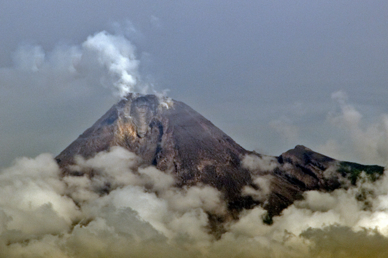 Smokes coming out of the mouth of Mount Merapi in Indonesia