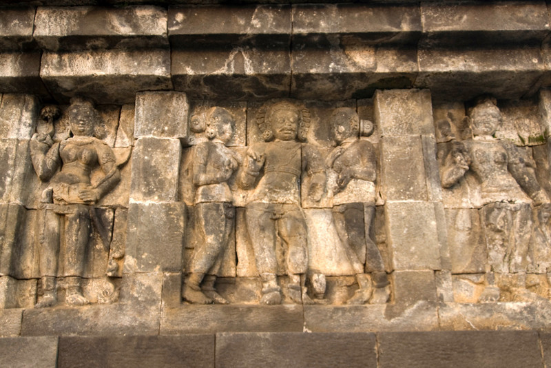 Detailed look at relief in Borobudur temple in Java, Indonesia