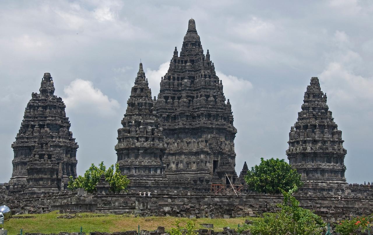 Closer look at the towers of Prambanan in Java, Indonesia