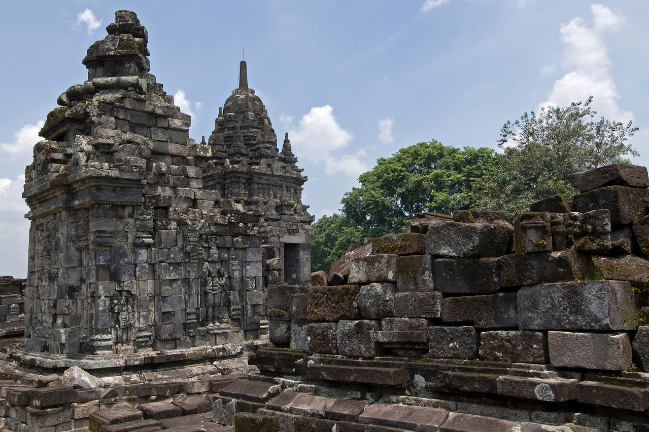 Close-up shot of two towers inside the Sewu Temple in Prambanan