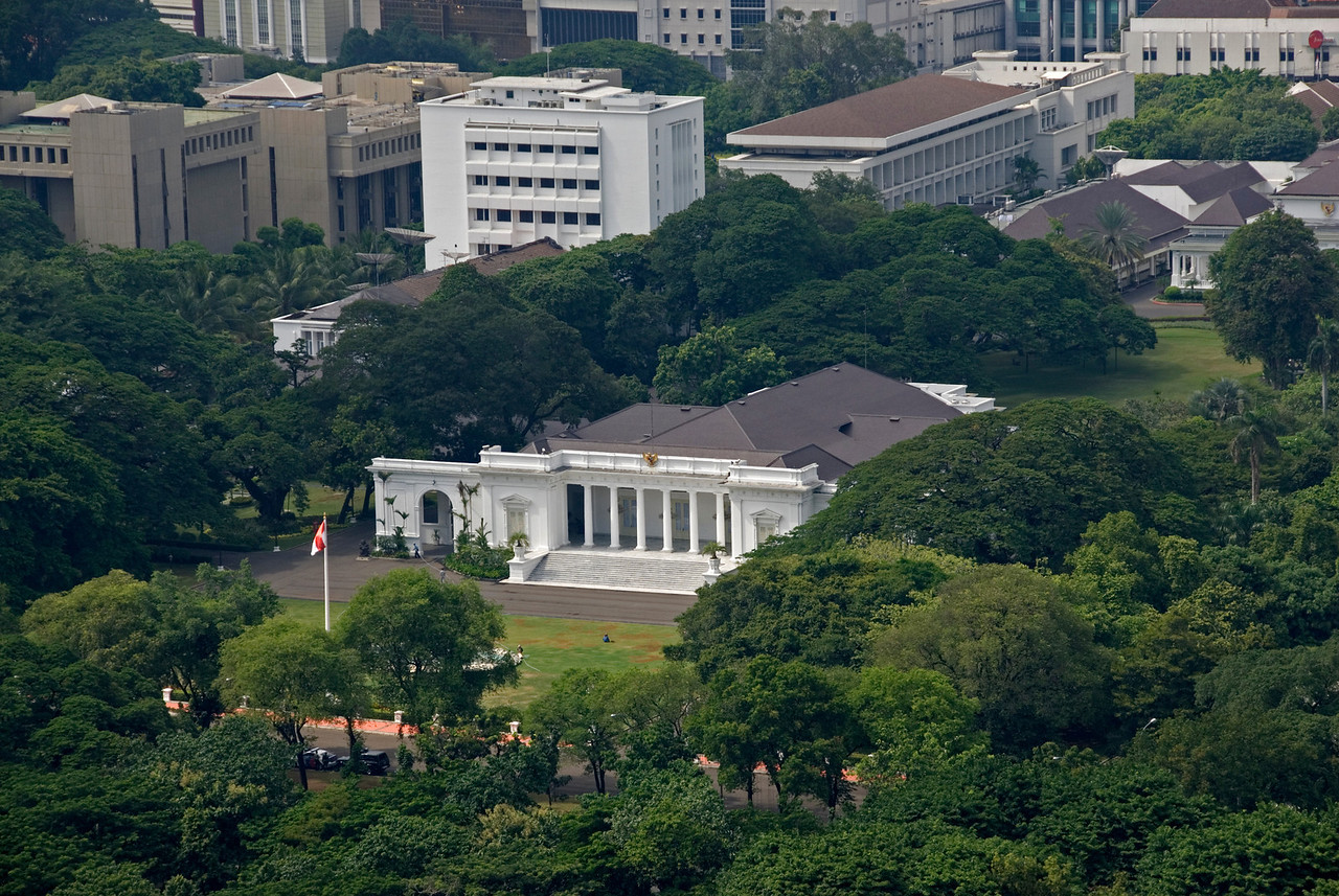Overhead shot of the Presidential Palace in Jakarta, Indonesia