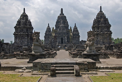 Two large Buddha statues on the entrance of Sewu Temple in Prambanan