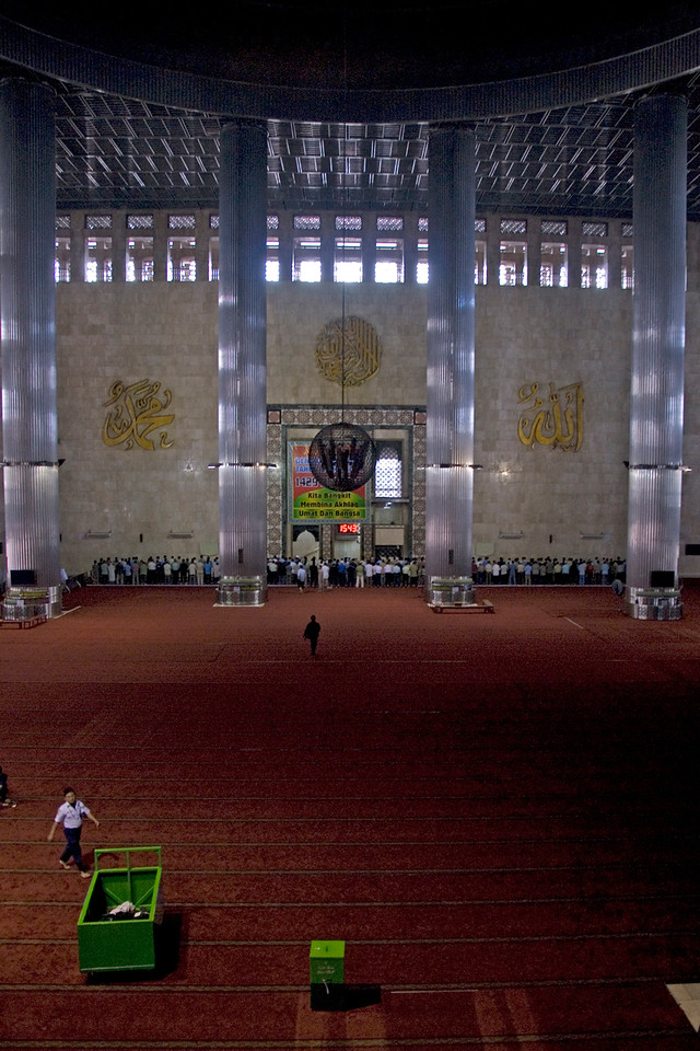 Expansive flooring inside the National Mosque in Jakarta, Indonesia