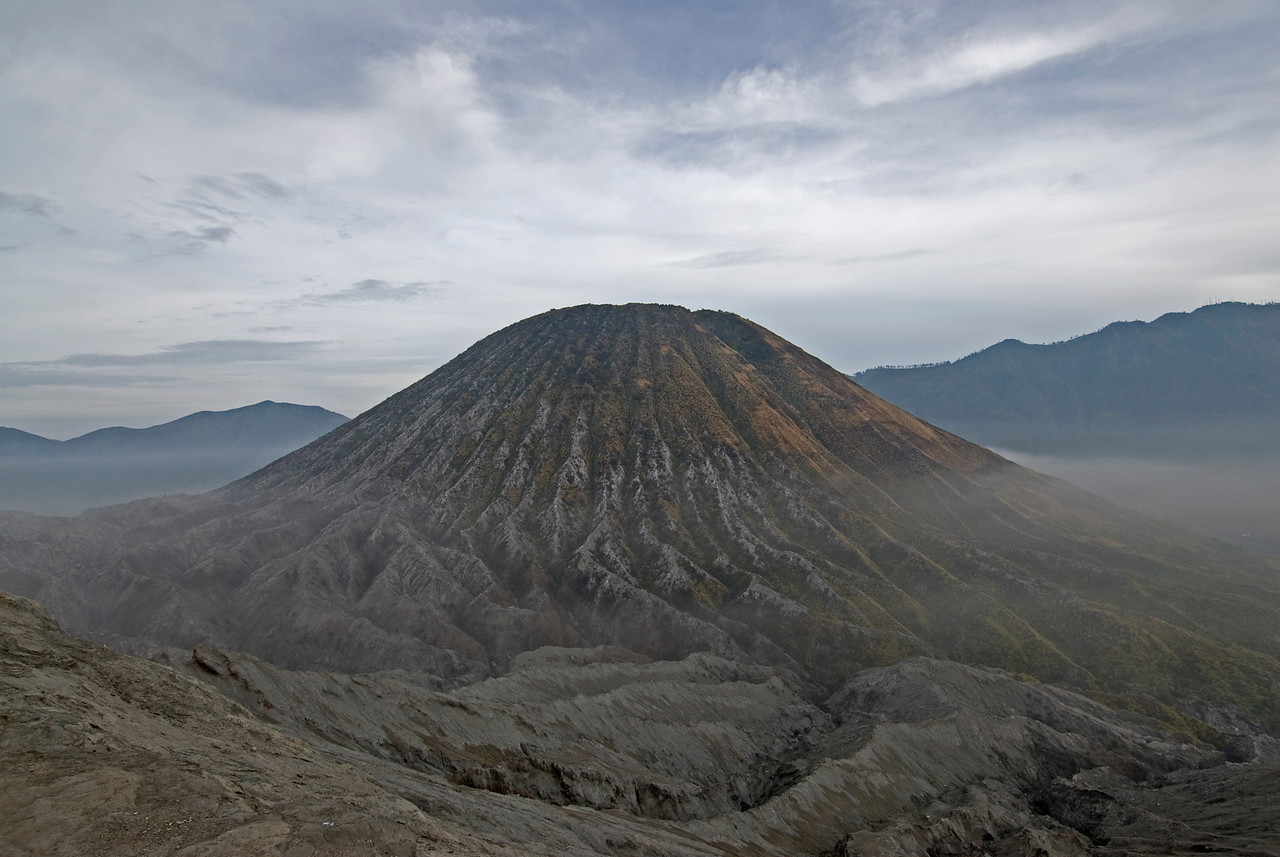 Upclose view of cone in Mount Bromo in Java, Indonesia