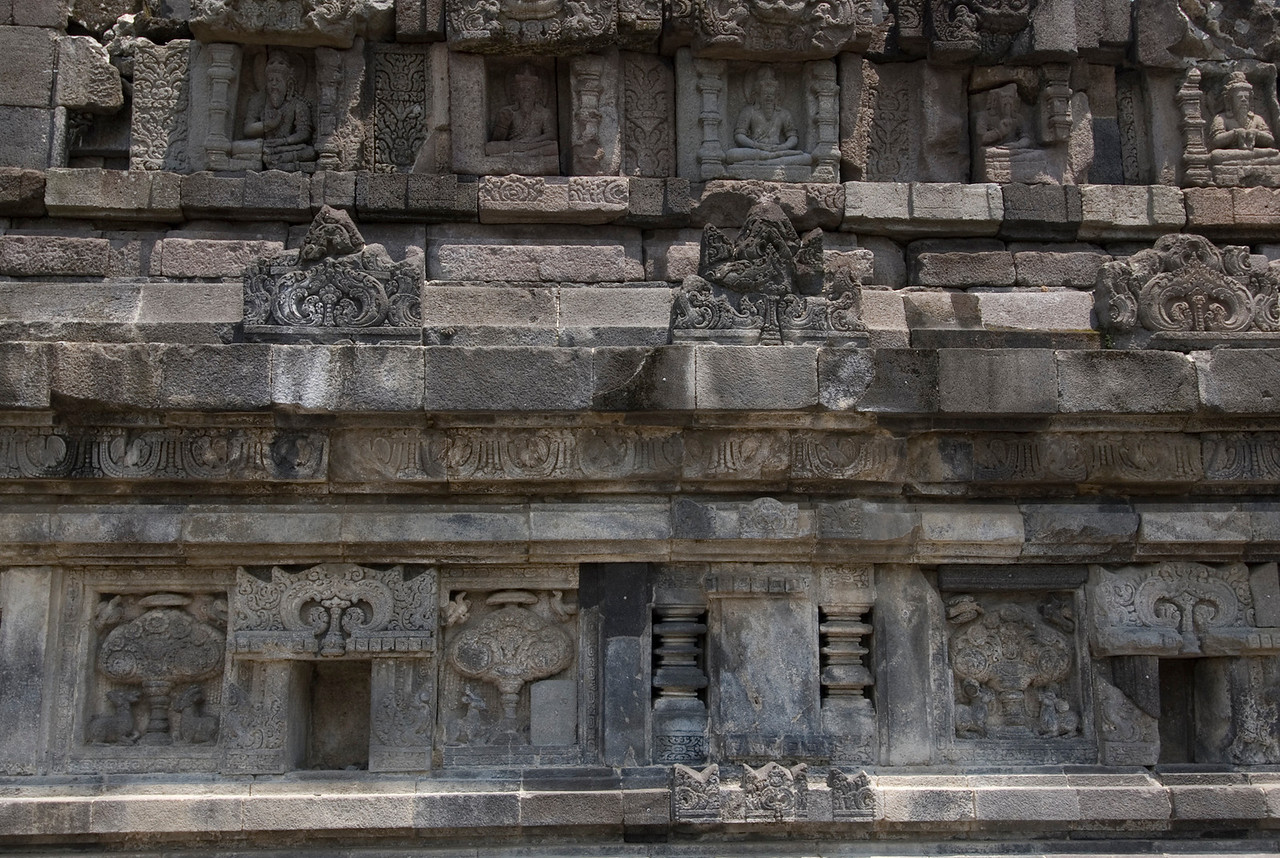 Wall carvings at Prambanan in Java, Indonesia