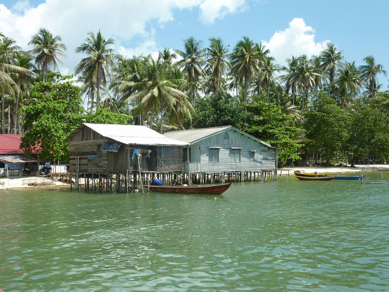 Beachfront houses in this Batam Island fishing village are built on stilts to prevent flooding when the tide rises.