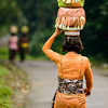 Balinese woman carries offerings to a temple on a festival day