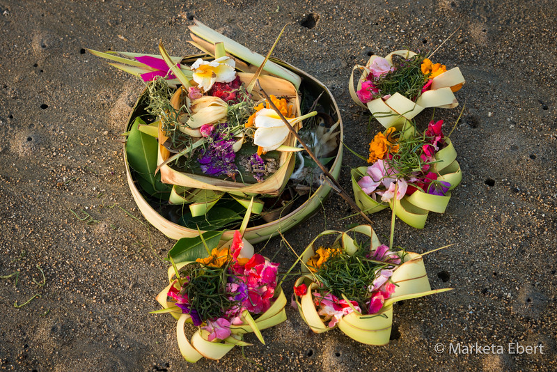 Offerings left on a beach