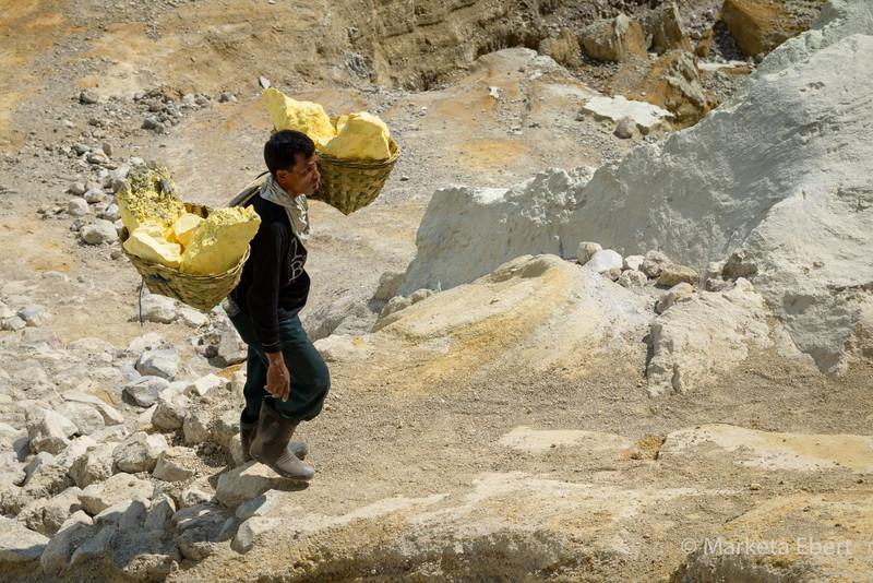 Worker carries 200lbs bags of sulphur