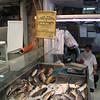 Haredi fishmonger at the Mahane Yehuda market.
