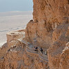 Side view of Masada. The Romans built a hill to order to deliver their seige machines.