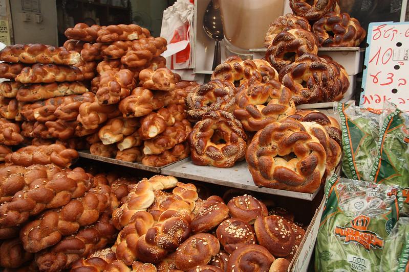Fresh challahs at the Mehane Yehuda market