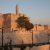 The Tower of David near the Jaffa Gate at sunset.