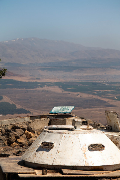 Fortification atop Mt Bental with Mt Hermon in the background.