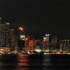 Hong Kong Island and Harbor at night