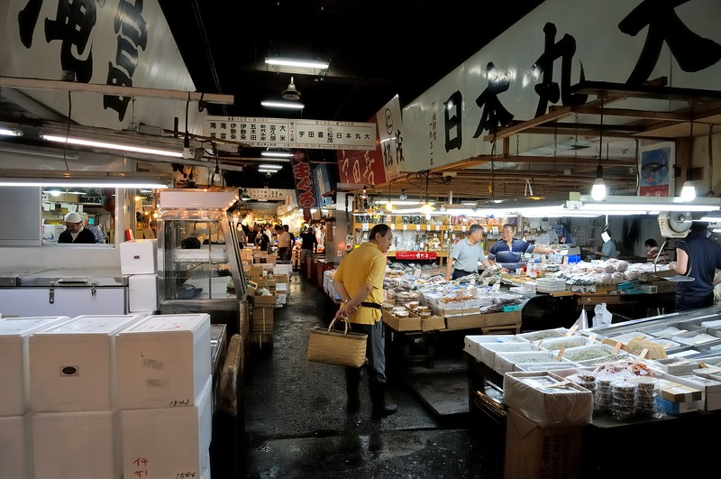 Early morning trade at Tsukiji - the largest fish market in the world