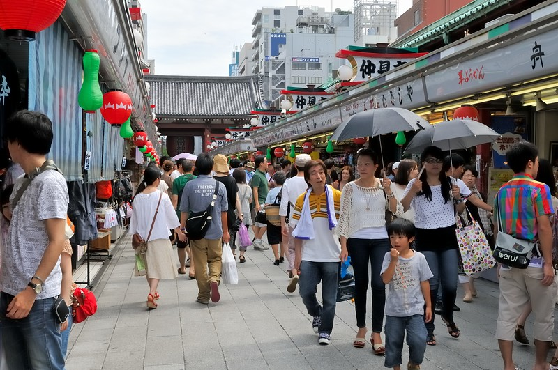Saturday shopping in Asakusa, where many stores carry traditional Japanese goods.