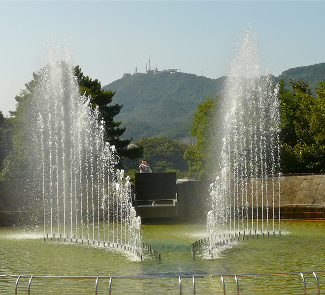 Two-sided fountain at Nagasaki Peace Park