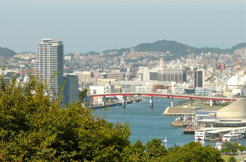 Nagasaki harbor with views of city buildings