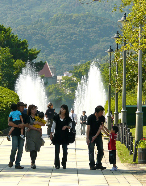 Japanese families visit the Nagasaki Peace Park