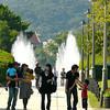 Japanese families visit the Nagasaki Peace Park