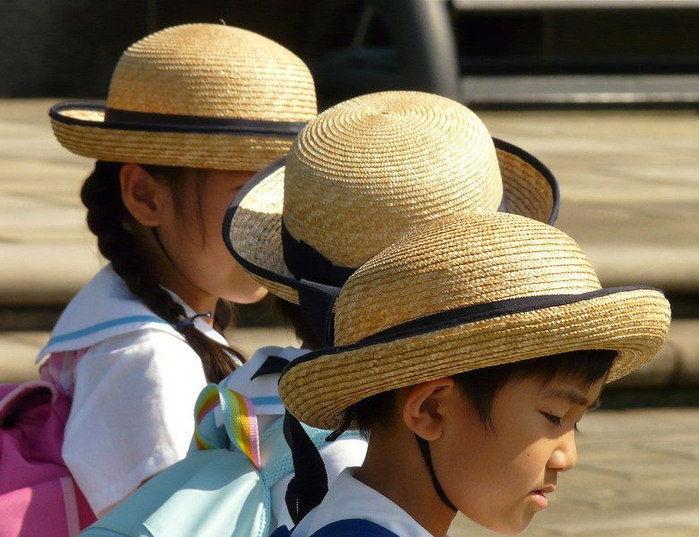 Closeup of children visiting Nagasaki Peace Park