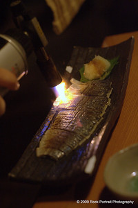 Korean BBQ - searing the fish with a blow torch