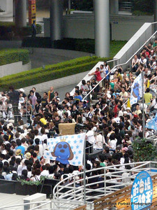 Crowd gathering for TV show in Odaiba