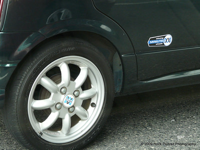 "You can buy any car accessory in Japan. These ""Minilite"" wheels transformed a boxy girls car into a cool Mini look-alike."